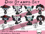 Set Digitale Stempel, Digi Stamps Dia de Muertos, 3 Versionen: Outlines, 2 in Farbe