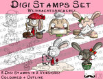 Set Digitale Stempel, Digi Stamps Set Weihnachtsbäckerei-Hase je 2 Versionen: Outlines, in Farbe