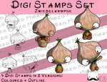 Set Digitale Stempel, Digi Stamps Zwiebelknirpse,  je 2 Versionen: Outlines, in Farbe